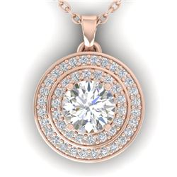 0.90 CTW Certified VS/SI Diamond Art Deco Halo Necklace 14K Rose Gold - REF-116T4X - 30370