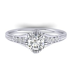 1.25 CTW Certified VS/SI Diamond Solitaire Art Deco Ring 14K White Gold - REF-347W3H - 30522
