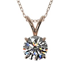 0.77 CTW Certified H-SI/I Quality Diamond Solitaire Necklace 10K Rose Gold - REF-100M2F - 36740