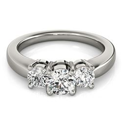 1.33 CTW Certified VS/SI Diamond 3 Stone Ring 18K White Gold - REF-262W9H - 28068