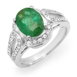 2.50 CTW Emerald & Diamond Ring 14K White Gold - REF-85M5F - 14535