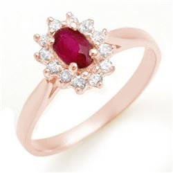 0.51 CTW Ruby & Diamond Ring 18K Rose Gold - REF-27K3R - 12619