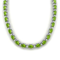 46.5 CTW Peridot & VS/SI Certified Diamond Eternity Necklace 10K White Gold - REF-275W3H - 29429
