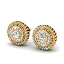 2.61 CTW VS/SI Diamond Solitaire Art Deco Stud Earrings 18K Yellow Gold - REF-381K8R - 37084