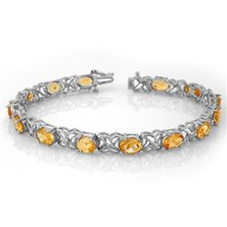 10.65 CTW Citrine & Diamond Bracelet 14K White Gold - REF-80K5R - 10522