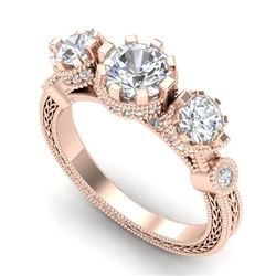 1.75 CTW VS/SI Diamond Solitaire Art Deco 3 Stone Ring 18K Rose Gold - REF-309X3T - 37071