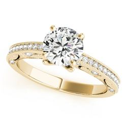 0.75 CTW Certified VS/SI Diamond Solitaire Antique Ring 18K Yellow Gold - REF-129X8T - 27374
