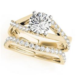 1.06 CTW Certified VS/SI Diamond Solitaire 2Pc Wedding Set 14K Yellow Gold - REF-137Y3N - 31621