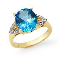 5.30 CTW Blue Topaz & Diamond Ring 10K Yellow Gold - REF-33W6H - 13279