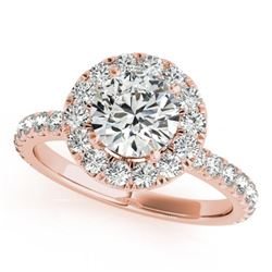 1.5 CTW Certified VS/SI Diamond Solitaire Halo Ring 18K Rose Gold - REF-230F2M - 26297