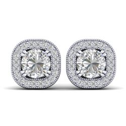 1.35 CTW Certified VS/SI Diamond Stud Micro Halo Earrings 14K White Gold - REF-177H3W - 30432
