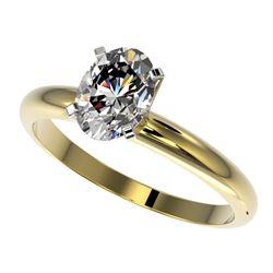 1.25 CTW Certified VS/SI Quality Oval Diamond Solitaire Ring 10K Yellow Gold - REF-370Y8N - 32915