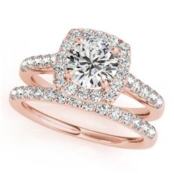1.45 CTW Certified VS/SI Diamond 2Pc Wedding Set Solitaire Halo 14K Rose Gold - REF-160X2T - 30715