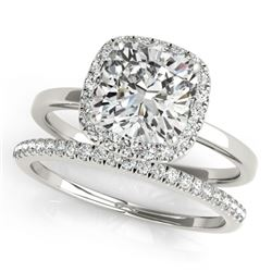 0.80 CTW Certified VS/SI Cushion Diamond 2Pc Set Solitaire Halo 14K White Gold - REF-143K5R - 31406