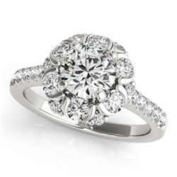 1.55 CTW Certified VS/SI Diamond Solitaire Halo Ring 18K White Gold - REF-175F8M - 26667