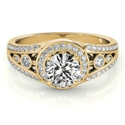 1.15 CTW Certified VS/SI Diamond Solitaire Halo Ring 18K Yellow Gold - REF-218T2X - 26744