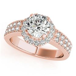 0.90 CTW Certified VS/SI Diamond Solitaire Halo Ring 18K Rose Gold - REF-143H6W - 27070