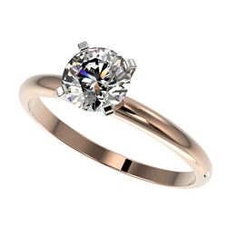 1 CTW Certified H-SI/I Quality Diamond Solitaire Engagement Ring 10K Rose Gold - REF-134H2W - 32885