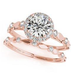 0.86 CTW Certified VS/SI Diamond 2Pc Wedding Set Solitaire Halo 14K Rose Gold - REF-123K6R - 30856