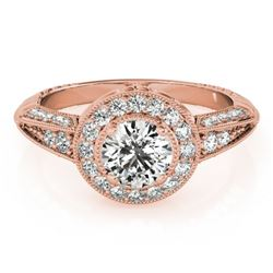 1 CTW Certified VS/SI Diamond Solitaire Halo Ring 18K Rose Gold - REF-147W3H - 26983