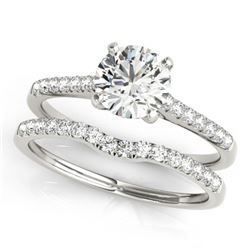 0.85 CTW Certified VS/SI Diamond Solitaire 2Pc Wedding Set 14K White Gold - REF-126K2R - 31736
