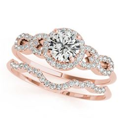 1.18 CTW Certified VS/SI Diamond Solitaire 2Pc Wedding Set 14K Rose Gold - REF-197H8W - 31992
