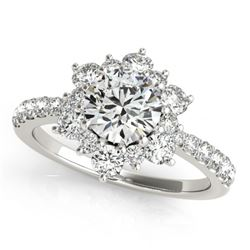 1.09 CTW Certified VS/SI Diamond Solitaire Halo Ring 18K White Gold - REF-142T2X - 26500