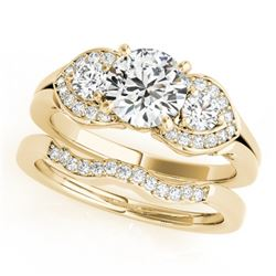 1.3 CTW Certified VS/SI Diamond 3 Stone 2Pc Wedding Set 14K Yellow Gold - REF-209N3Y - 32014
