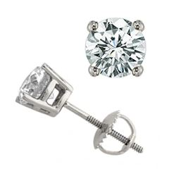 1.25 CTW Certified VS/SI Diamond Solitaire Stud Earrings 18K White Gold - REF-189M6F - 13045