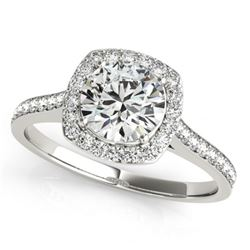 0.85 CTW Certified VS/SI Diamond Solitaire Halo Ring 18K White Gold - REF-125H5W - 26871