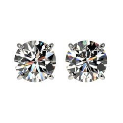 1.59 CTW Certified H-SI/I Quality Diamond Solitaire Stud Earrings 10K White Gold - REF-154H5W - 3660