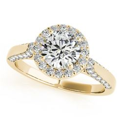 1.25 CTW Certified VS/SI Diamond Solitaire Halo Ring 18K Yellow Gold - REF-222F9M - 26382