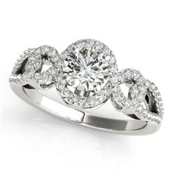 1.15 CTW Certified VS/SI Diamond Solitaire Halo Ring 18K White Gold - REF-212R2K - 26682