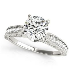 0.98 CTW Certified VS/SI Diamond Solitaire Antique Ring 18K White Gold - REF-205H8W - 27354