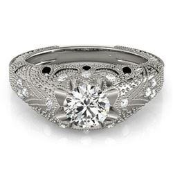 0.97 CTW Certified VS/SI Diamond Solitaire Antique Ring 18K White Gold - REF-226M2F - 27264