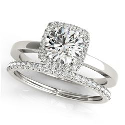 0.83 CTW Certified VS/SI Diamond 2Pc Wedding Set Solitaire Halo 14K White Gold - REF-124T4X - 30729