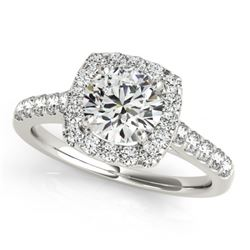 1.1 CTW Certified VS/SI Diamond Solitaire Halo Ring 18K White Gold - REF-148W2H - 26257