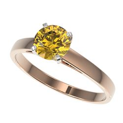 1 CTW Certified Intense Yellow SI Diamond Solitaire Engagement Ring 10K Rose Gold - REF-140K4R - 329
