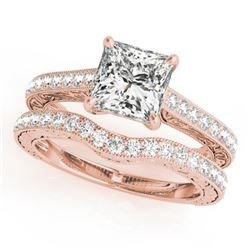 1.15 CTW Certified VS/SI Princess Diamond Solitaire 2Pc Set 14K Rose Gold - REF-158T5X - 31752