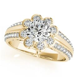 0.85 CTW Certified VS/SI Diamond Solitaire Halo Ring 18K Yellow Gold - REF-121H8W - 27032