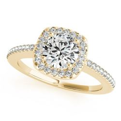 0.75 CTW Certified VS/SI Diamond Solitaire Halo Ring 18K Yellow Gold - REF-124R8K - 26598