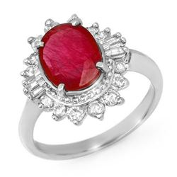 4.50 CTW Ruby & Diamond Ring 18K White Gold - REF-118Y2N - 13223