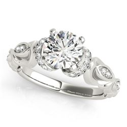 0.95 CTW Certified VS/SI Diamond Solitaire Antique Ring 18K White Gold - REF-200W5H - 27306