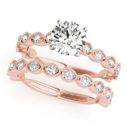 1.77 CTW Certified VS/SI Diamond Solitaire 2Pc Wedding Set 14K Rose Gold - REF-228F2M - 31611