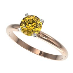 1.01 CTW Certified Intense Yellow SI Diamond Solitaire Engagement Ring 10K Rose Gold - REF-136W4H -