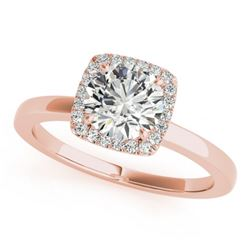 0.90 CTW Certified VS/SI Diamond Solitaire Halo Ring 18K Rose Gold - REF-199W8H - 26276