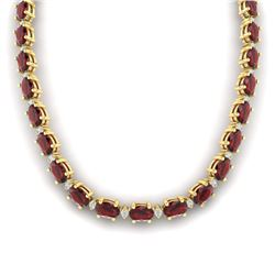 46.5 CTW Garnet & VS/SI Certified Diamond Eternity Necklace 10K Yellow Gold - REF-218W2H - 29426