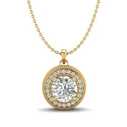 1.25 CTW VS/SI Diamond Solitaire Art Deco Necklace 18K Yellow Gold - REF-218M2F - 37144