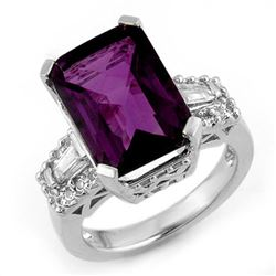 9.55 CTW Amethyst & Diamond Ring 14K White Gold - REF-91T6X - 11753