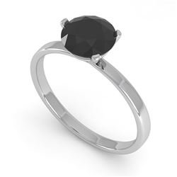 1.0 CTW Black Certified Diamond Engagement Ring Martini 14K White Gold - REF-38R2K - 38329